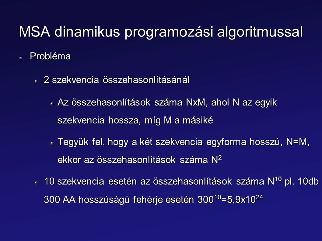 MSA dinamikus programozási algoritmussal