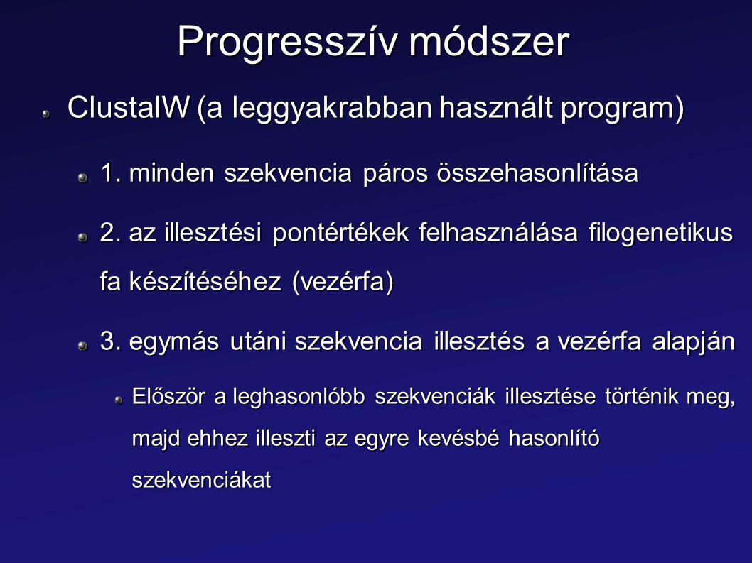 Progresszív módszer ClustalW (a leggyakrabban használt program)