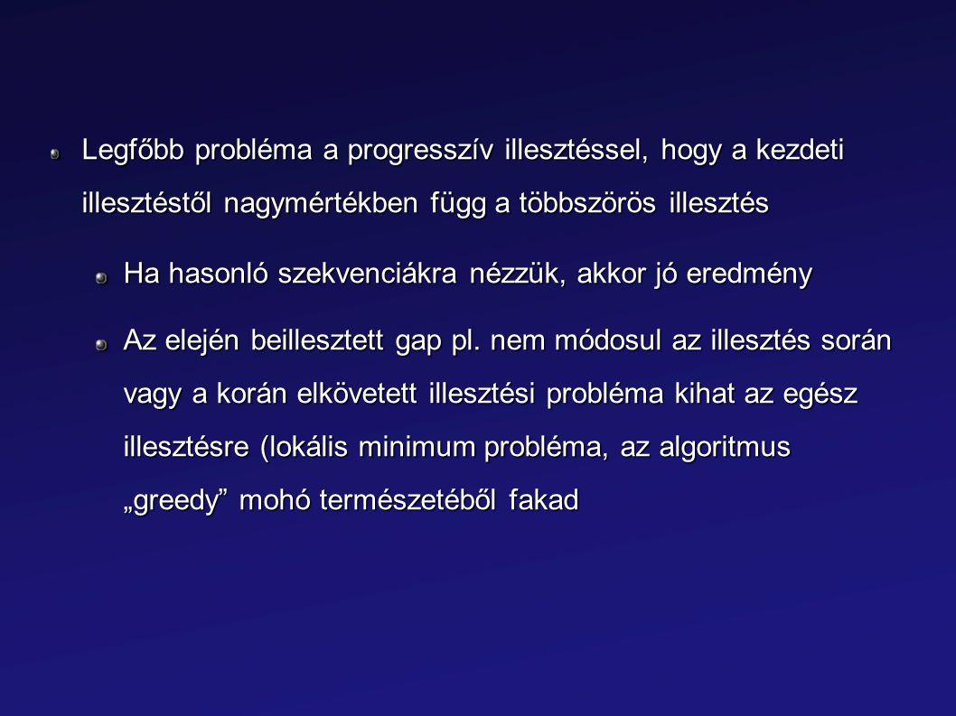 Legfőbb probléma a progresszív illesztéssel, hogy a kezdeti illesztéstől nagymértékben függ a többszörös illesztés