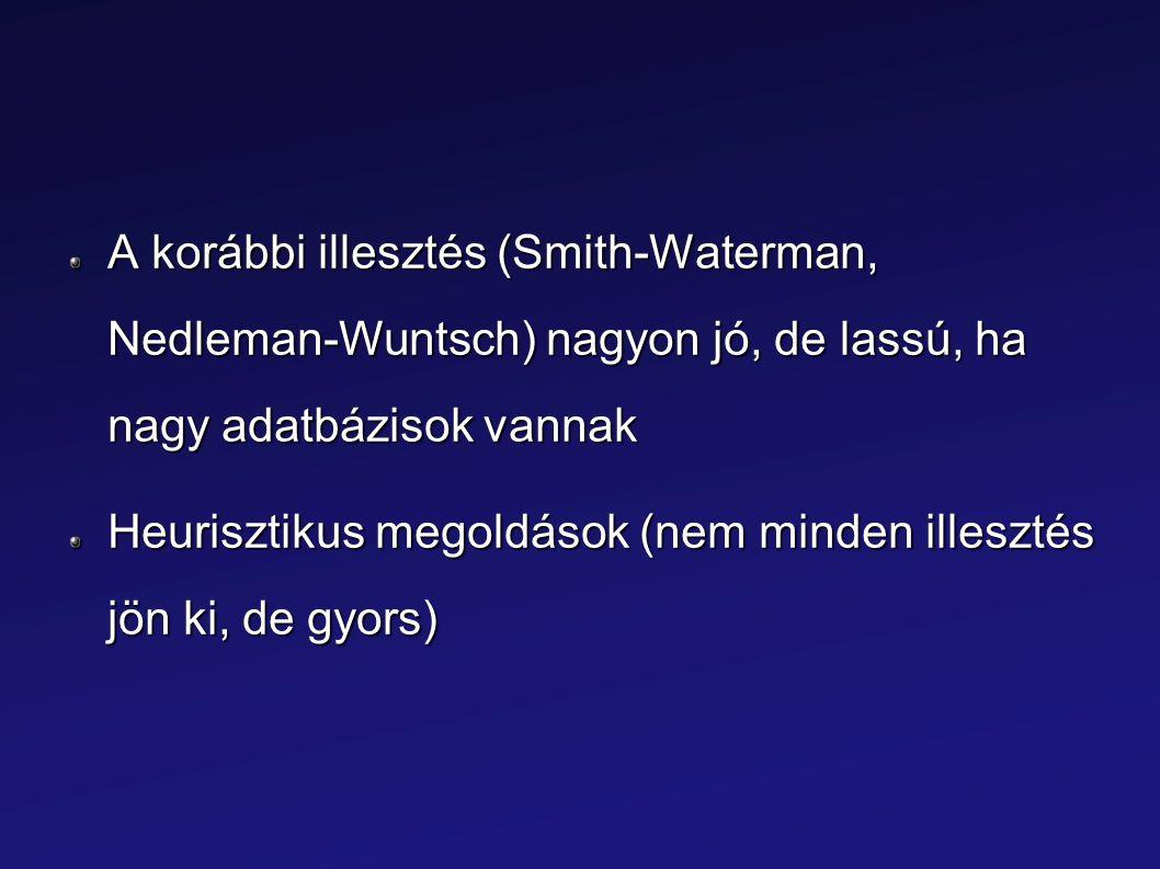 A korábbi illesztés (Smith-Waterman, Nedleman-Wuntsch) nagyon jó, de lassú, ha nagy adatbázisok vannak