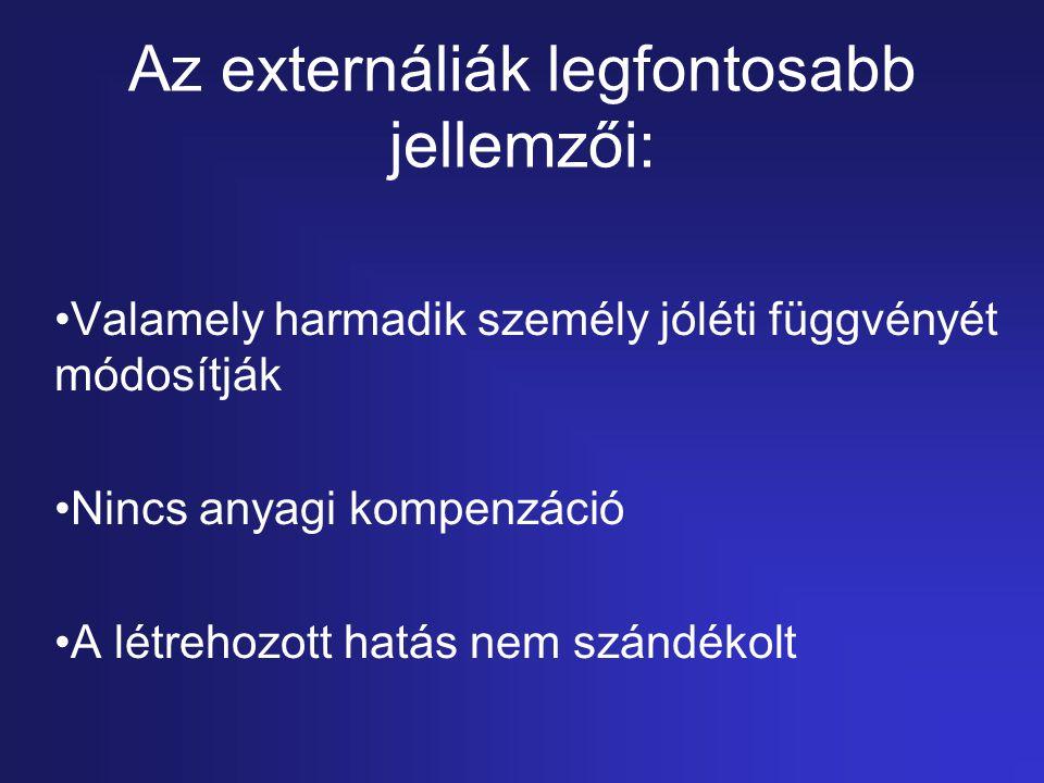 Az externáliák legfontosabb jellemzői: