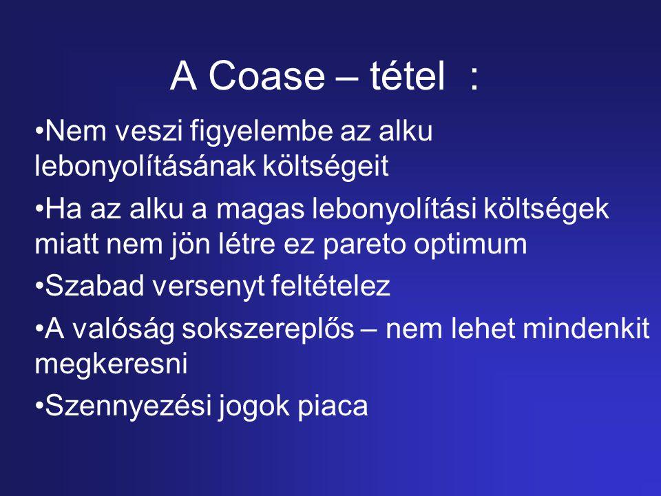 A Coase – tétel : Nem veszi figyelembe az alku lebonyolításának költségeit.