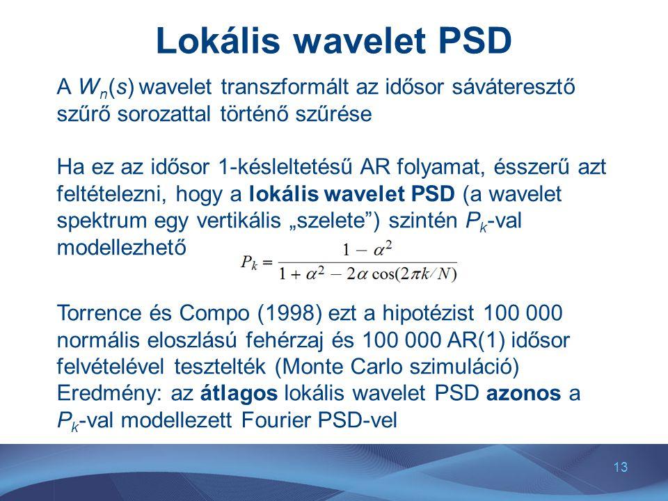 Lokális wavelet PSD A Wn(s) wavelet transzformált az idősor sáváteresztő szűrő sorozattal történő szűrése.