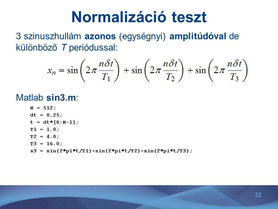 Normalizáció teszt 3 szinuszhullám azonos (egységnyi) amplitúdóval de különböző T periódussal: Matlab sin3.m: