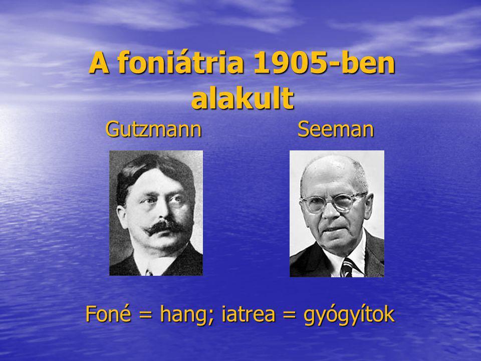 A foniátria 1905-ben alakult