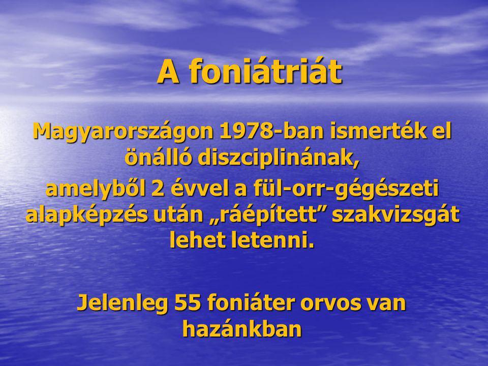 A foniátriát Magyarországon 1978-ban ismerték el önálló diszciplinának,