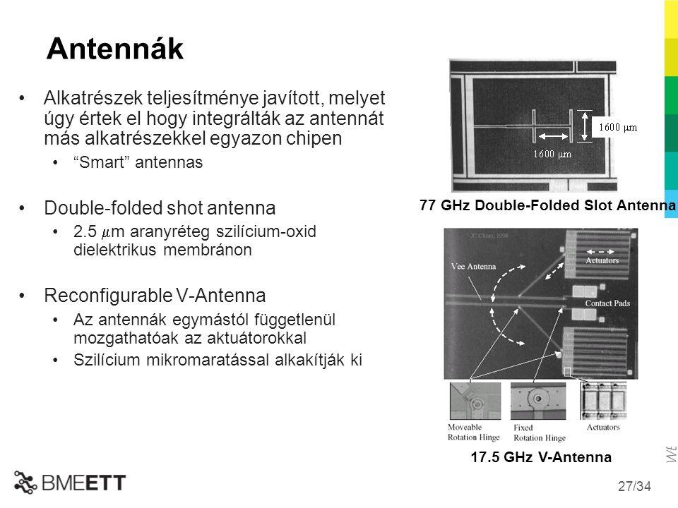 Antennák Alkatrészek teljesítménye javított, melyet úgy értek el hogy integrálták az antennát más alkatrészekkel egyazon chipen.