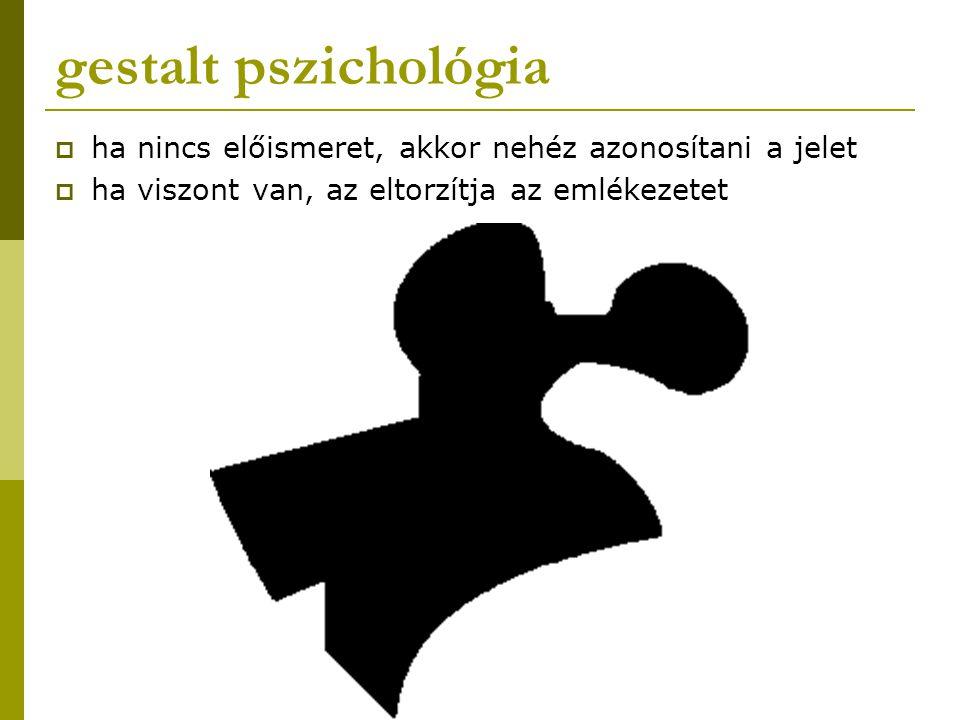 gestalt pszichológia ha nincs előismeret, akkor nehéz azonosítani a jelet.