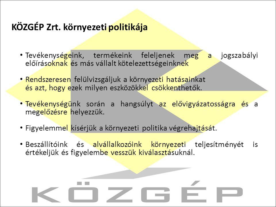 KÖZGÉP Zrt. környezeti politikája