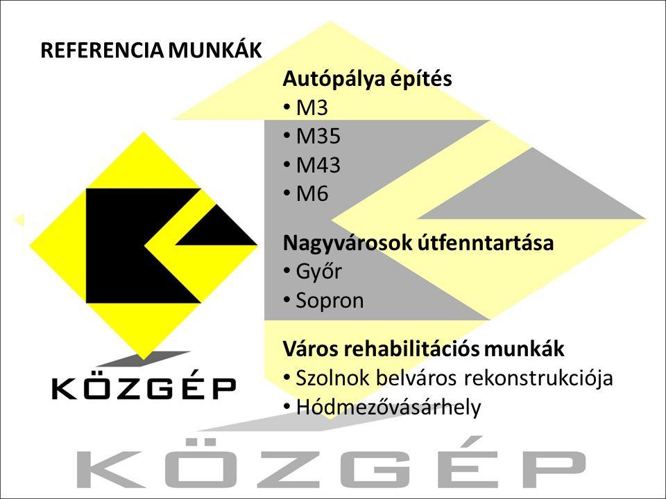 REFERENCIA MUNKÁK Autópálya építés. M3. M35. M43. M6. Nagyvárosok útfenntartása. Győr. Sopron.