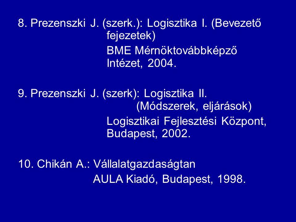 8. Prezenszki J. (szerk.): Logisztika I. (Bevezető fejezetek)