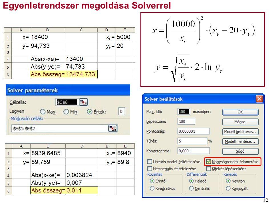 Egyenletrendszer megoldása Solverrel