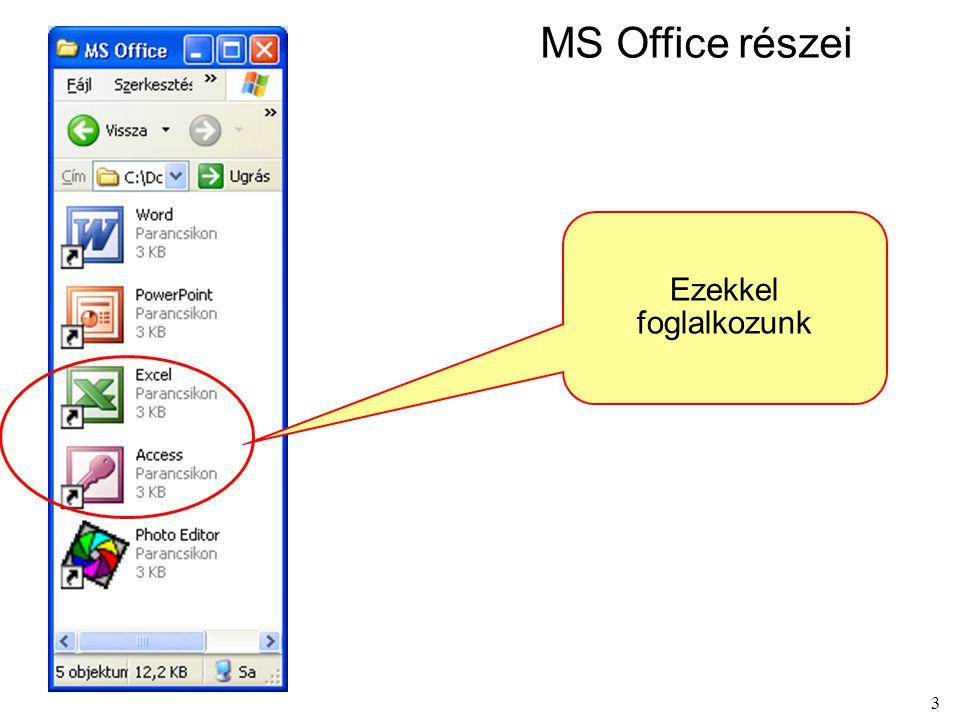 MS Office részei Ezekkel foglalkozunk