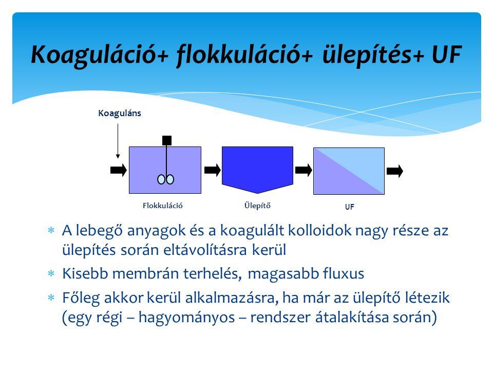 Koaguláció+ flokkuláció+ ülepítés+ UF