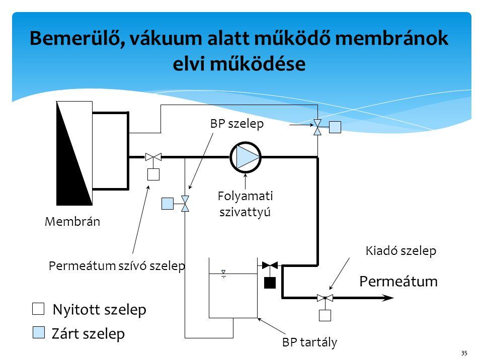 Bemerülő, vákuum alatt működő membránok elvi működése