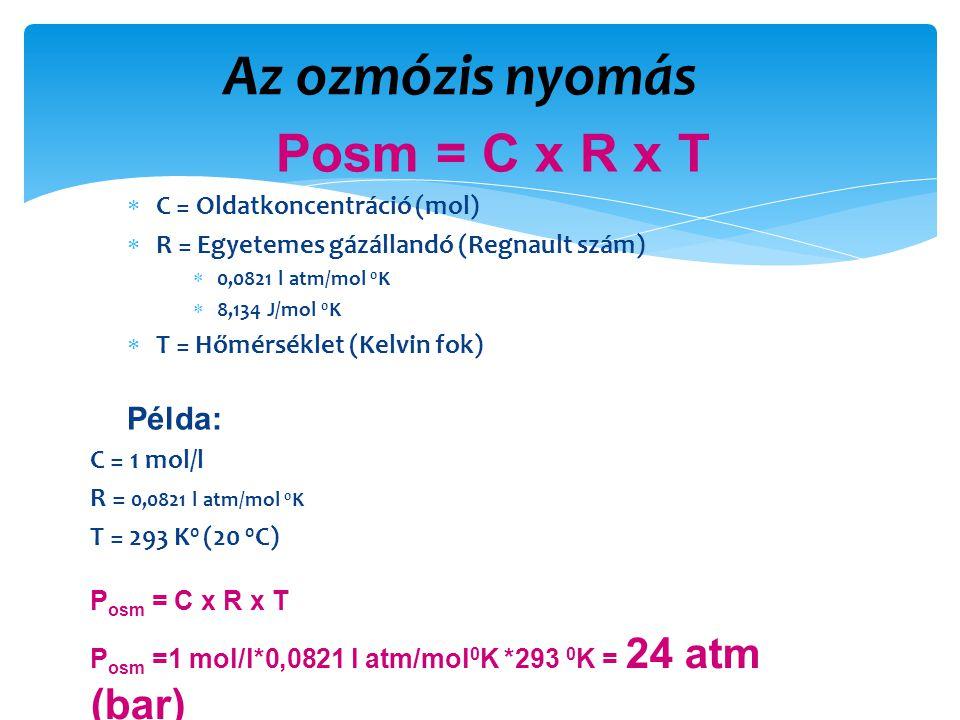 Az ozmózis nyomás Posm = C x R x T Példa: C = Oldatkoncentráció (mol)