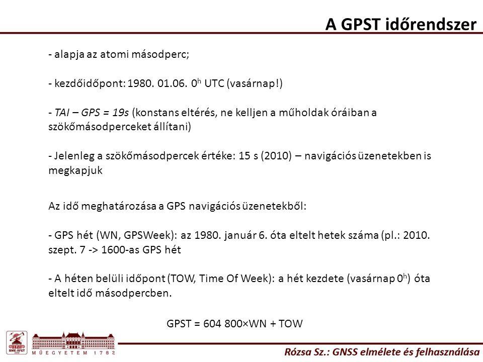 A GPST időrendszer alapja az atomi másodperc;