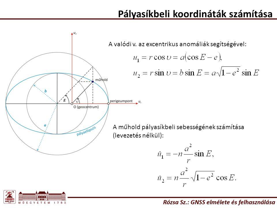 Pályasíkbeli koordináták számítása