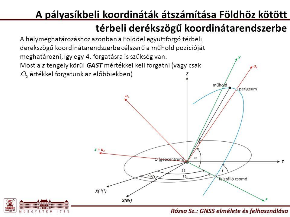 A pályasíkbeli koordináták átszámítása Földhöz kötött térbeli derékszögű koordinátarendszerbe