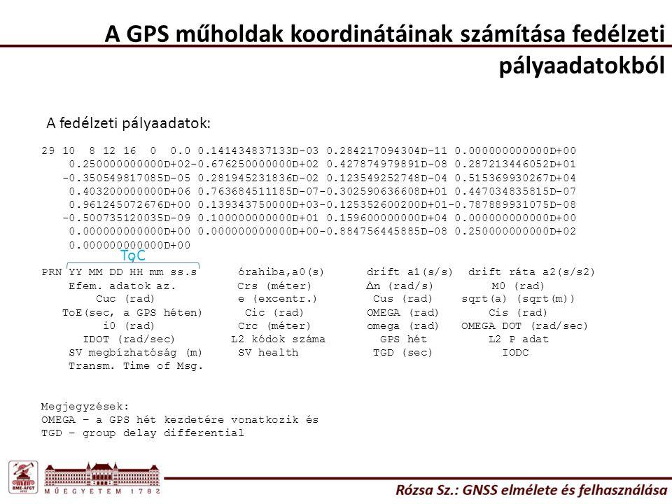 A GPS műholdak koordinátáinak számítása fedélzeti pályaadatokból