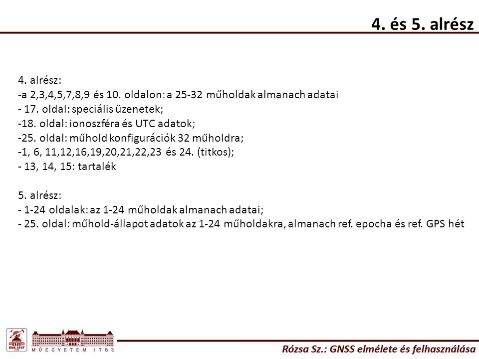 4. és 5. alrész 4. alrész: a 2,3,4,5,7,8,9 és 10. oldalon: a 25-32 műholdak almanach adatai. 17. oldal: speciális üzenetek;