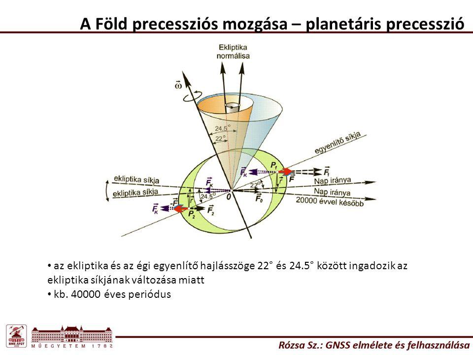 A Föld precessziós mozgása – planetáris precesszió
