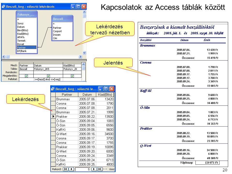 Kapcsolatok az Access táblák között