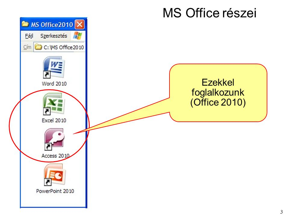 MS Office részei Ezekkel foglalkozunk (Office 2010)