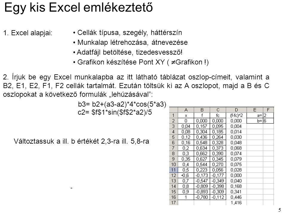Egy kis Excel emlékeztető