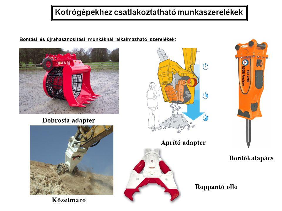 Kotrógépekhez csatlakoztatható munkaszerelékek