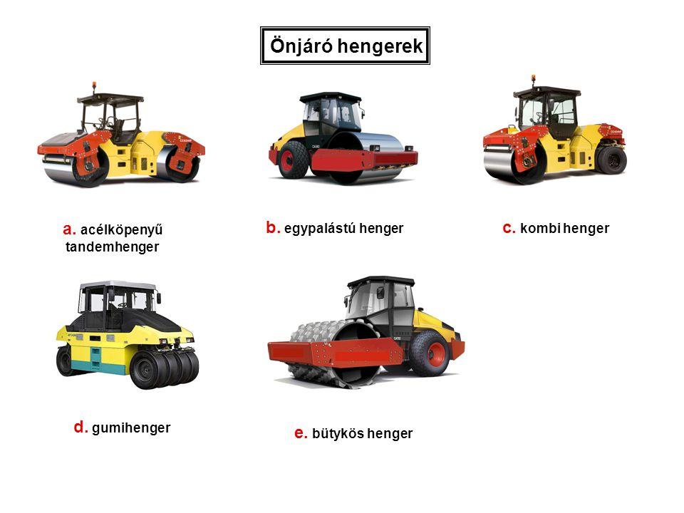 Önjáró hengerek a. acélköpenyű b. egypalástú henger c. kombi henger