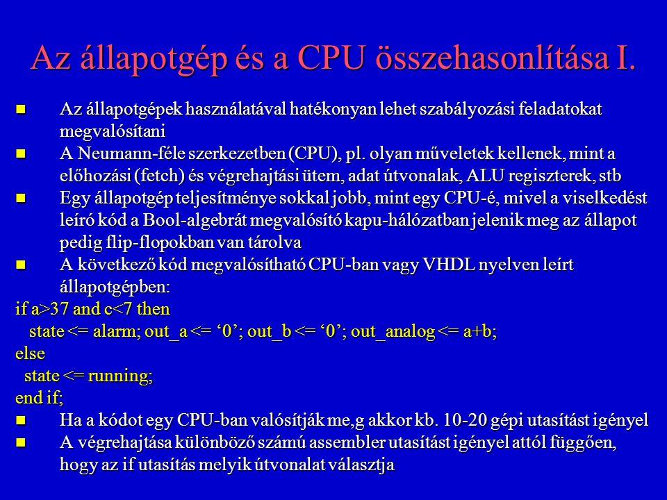 Az állapotgép és a CPU összehasonlítása I.