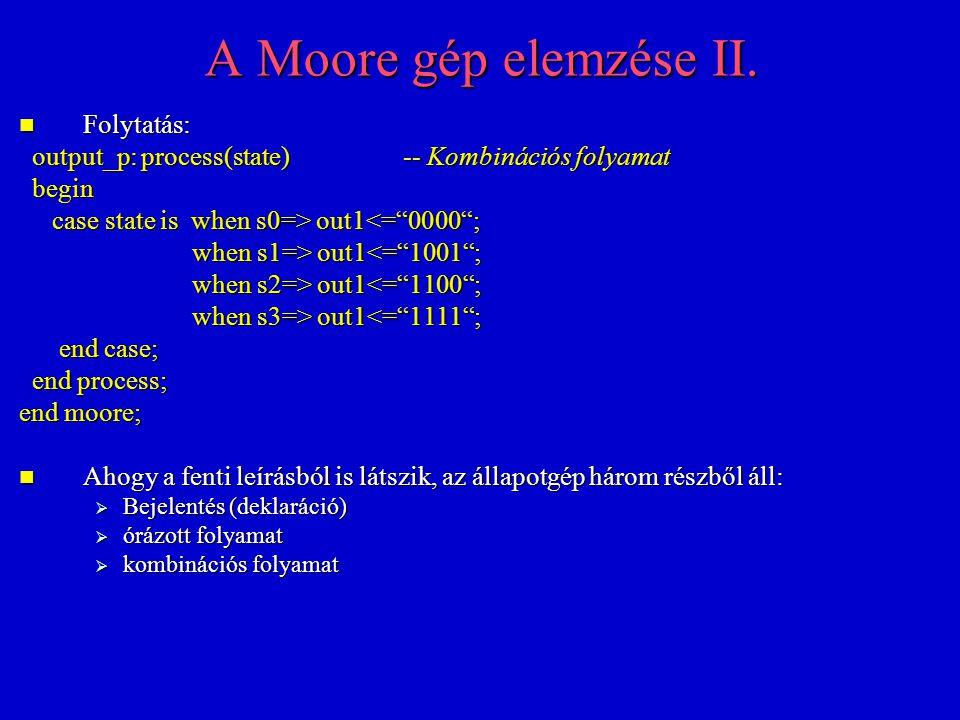 A Moore gép elemzése II. Folytatás: