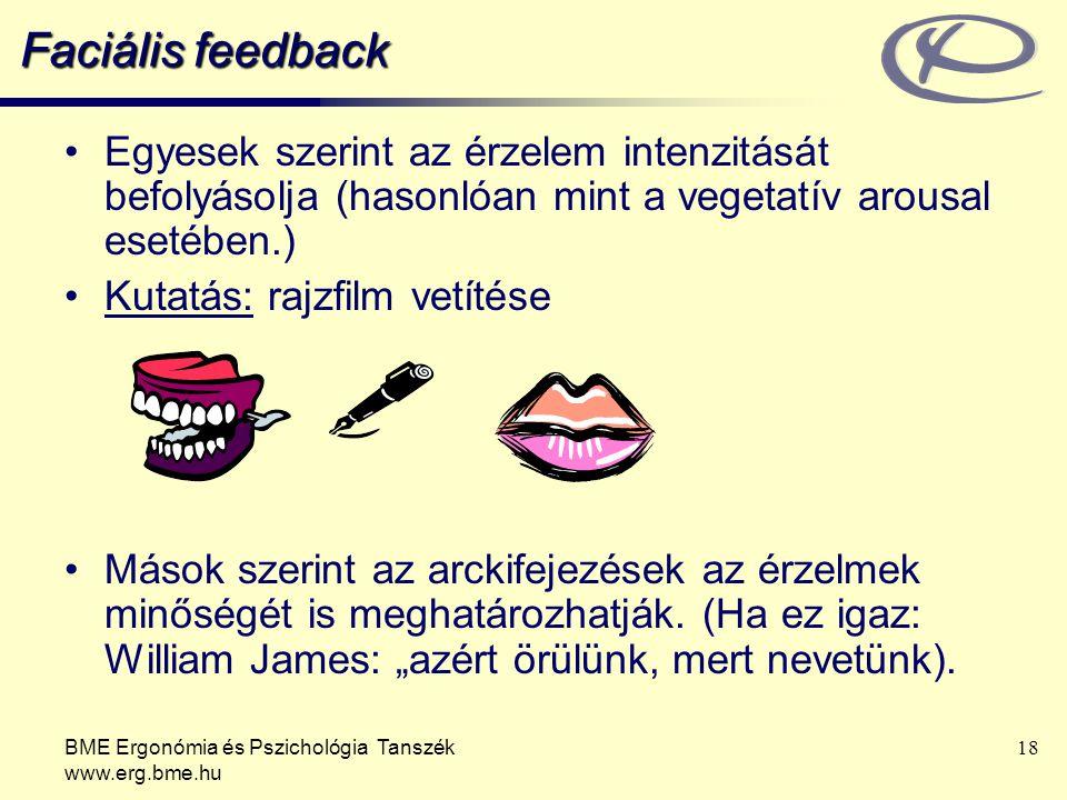 Faciális feedback Egyesek szerint az érzelem intenzitását befolyásolja (hasonlóan mint a vegetatív arousal esetében.)