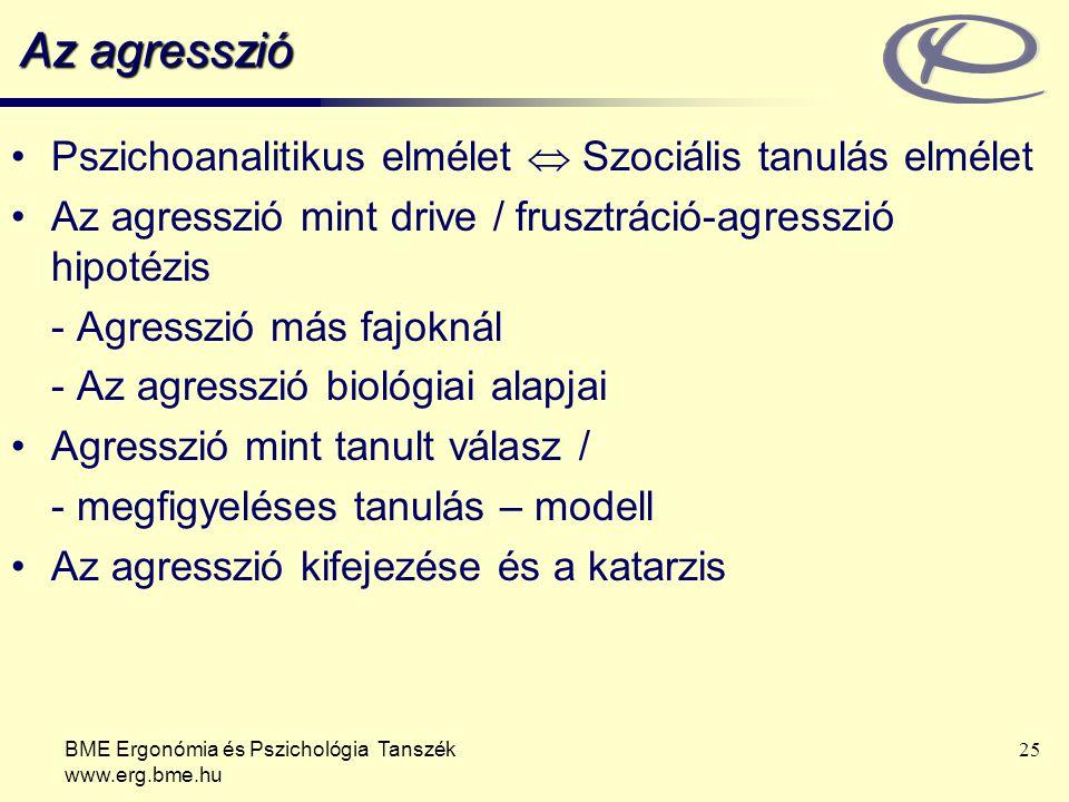 Az agresszió Pszichoanalitikus elmélet  Szociális tanulás elmélet