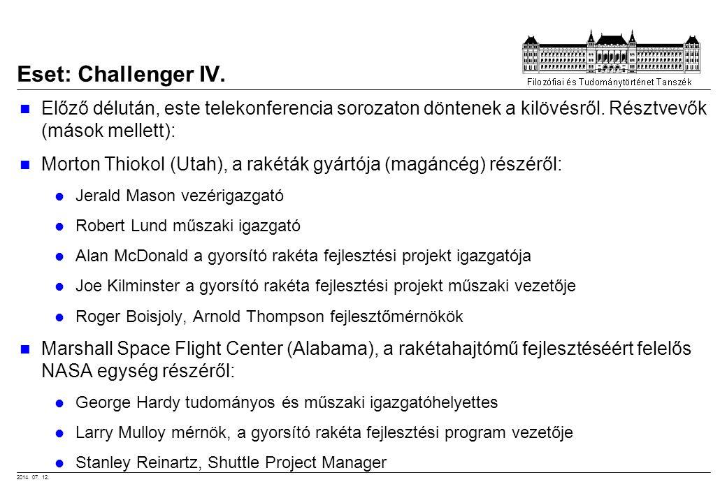 Eset: Challenger IV. Előző délután, este telekonferencia sorozaton döntenek a kilövésről. Résztvevők (mások mellett):