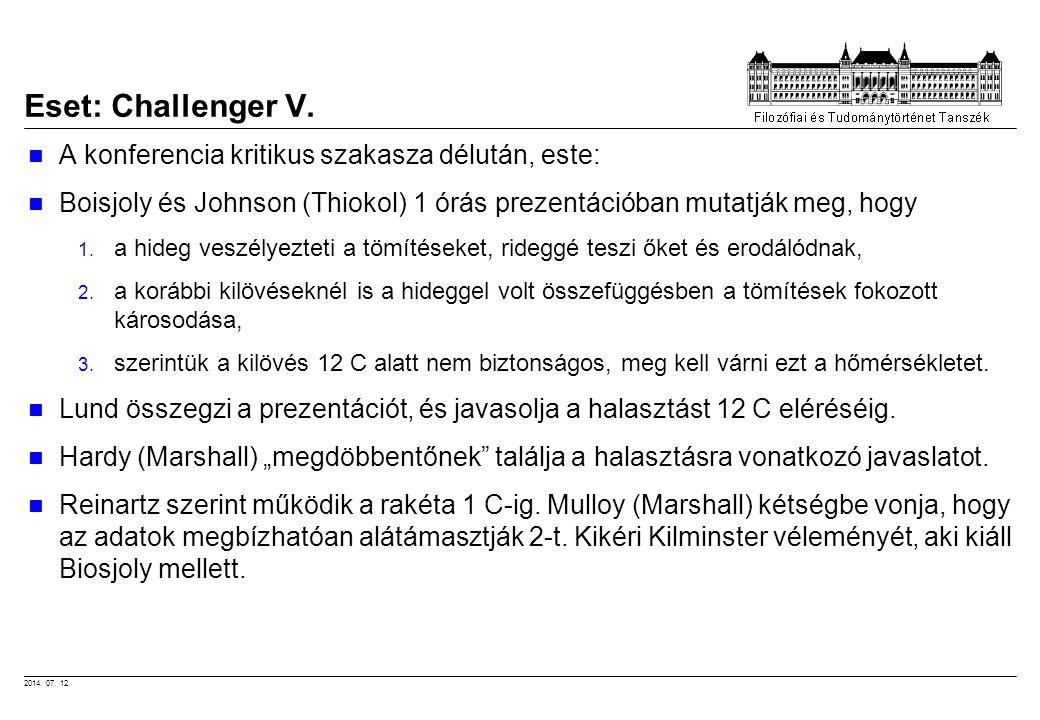 Eset: Challenger V. A konferencia kritikus szakasza délután, este: