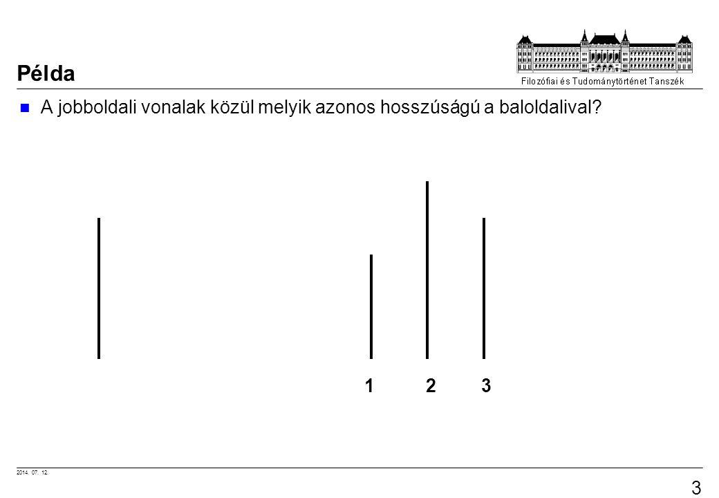 Példa A jobboldali vonalak közül melyik azonos hosszúságú a baloldalival 1 2 3