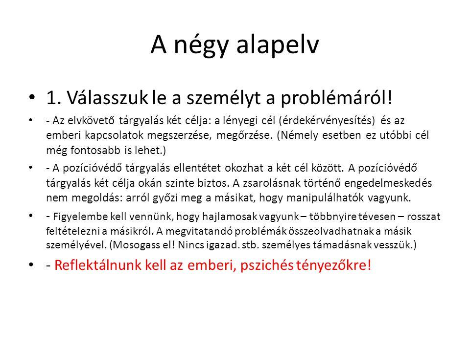 A négy alapelv 1. Válasszuk le a személyt a problémáról!