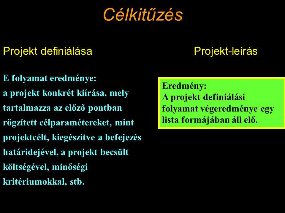 Célkitűzés Projekt definiálása Projekt-leírás E folyamat eredménye: