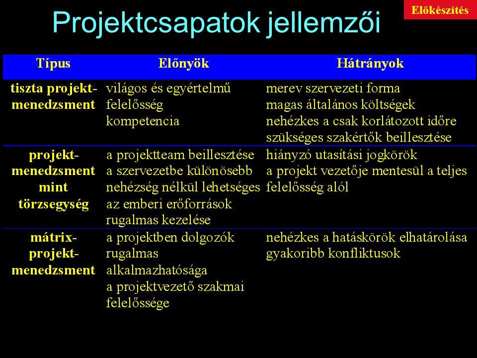 Projektcsapatok jellemzői