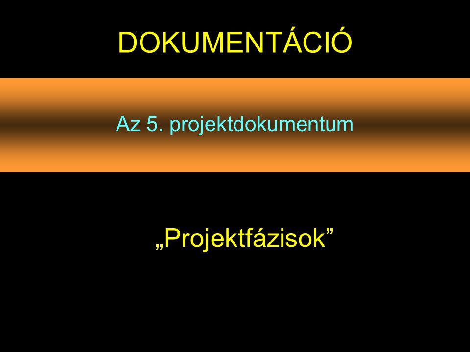"""DOKUMENTÁCIÓ Az 5. projektdokumentum """"Projektfázisok"""