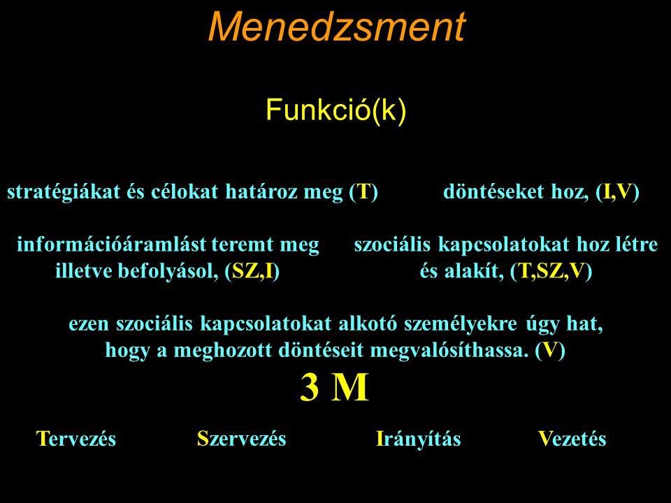 Menedzsment 3 M Funkció(k) stratégiákat és célokat határoz meg (T)