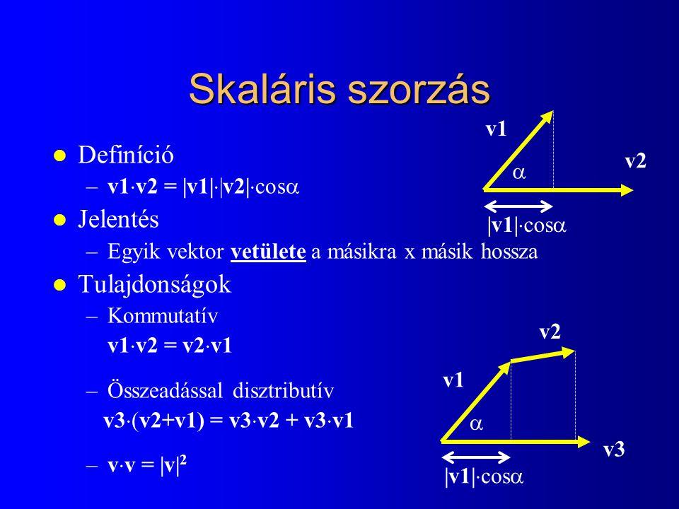 Skaláris szorzás Definíció Jelentés Tulajdonságok v1 v2