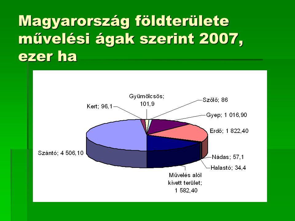 Magyarország földterülete művelési ágak szerint 2007, ezer ha
