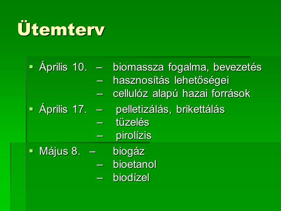 Ütemterv Április 10. – biomassza fogalma, bevezetés – hasznosítás lehetőségei – cellulóz alapú hazai források.