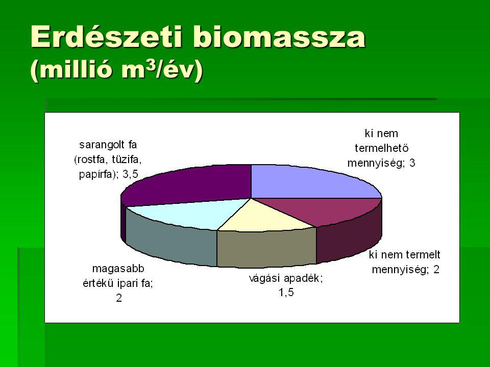 Erdészeti biomassza (millió m3/év)