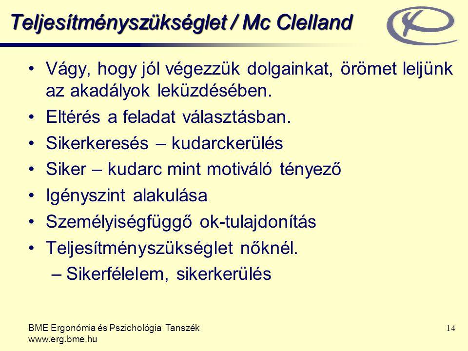 Teljesítményszükséglet / Mc Clelland