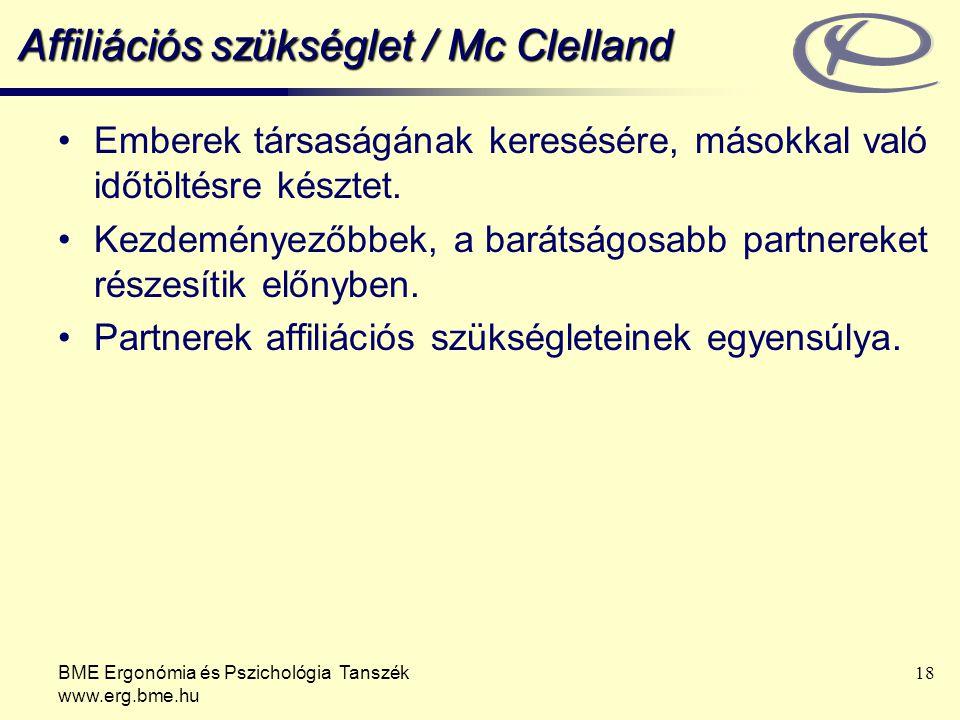 Affiliációs szükséglet / Mc Clelland