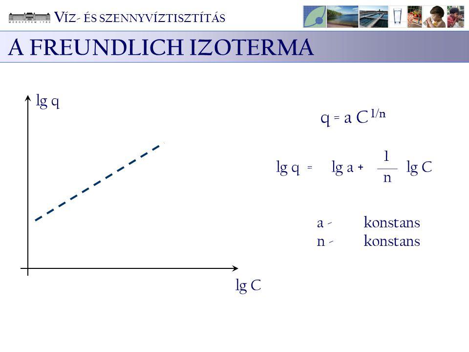 A FREUNDLICH IZOTERMA q = a C 1/n VÍZ- ÉS SZENNYVÍZTISZTÍTÁS lg q 1